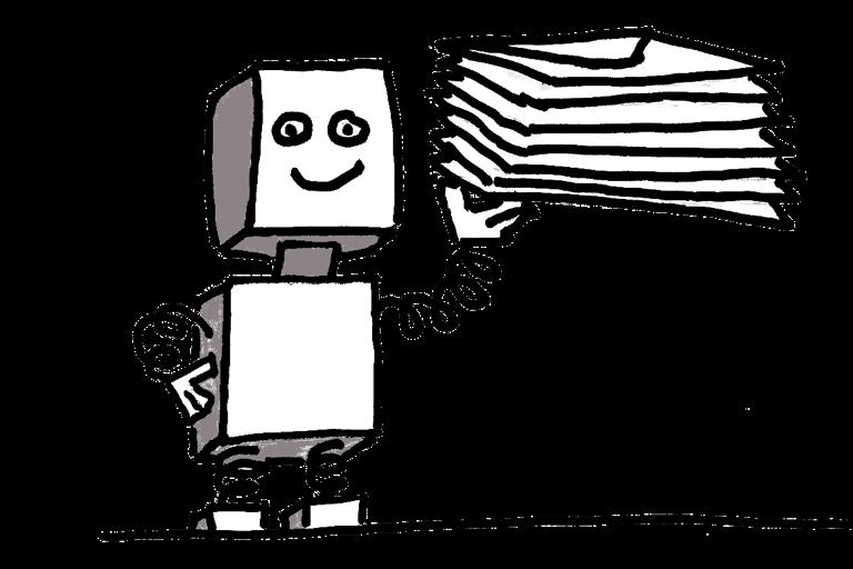 Robot holding stack of emails illustration